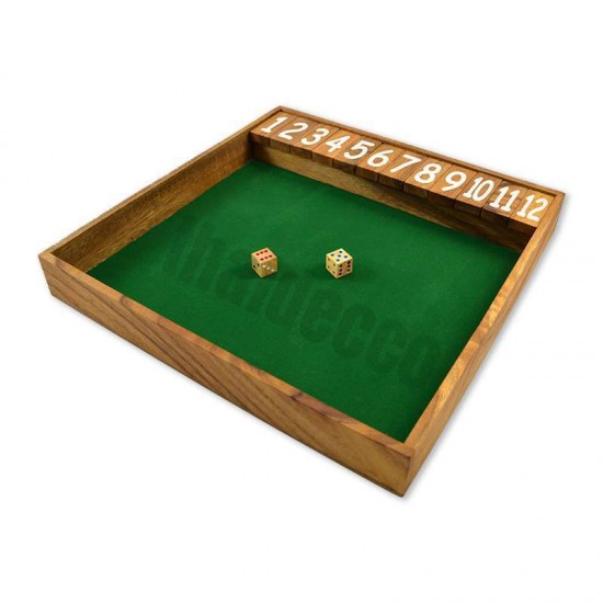 Shut The Box Jumbo tärningsspel med grön spelyta