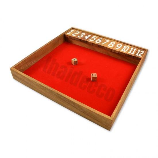 Träspel Shut The Box Jumbo med tärningar och med grön spelyta