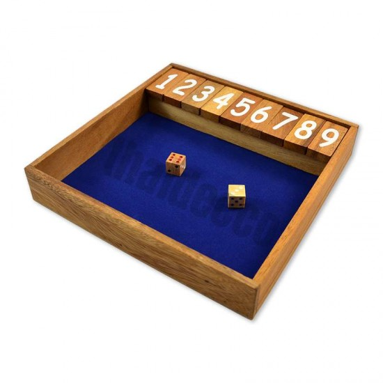 Träspel Shut The Box Large med tärningar och blå spelyta