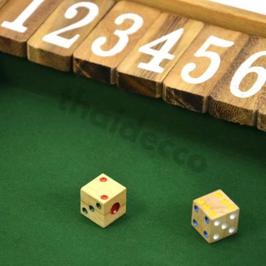 Träspel Shut The Box Large med tärningar och grön spelyta