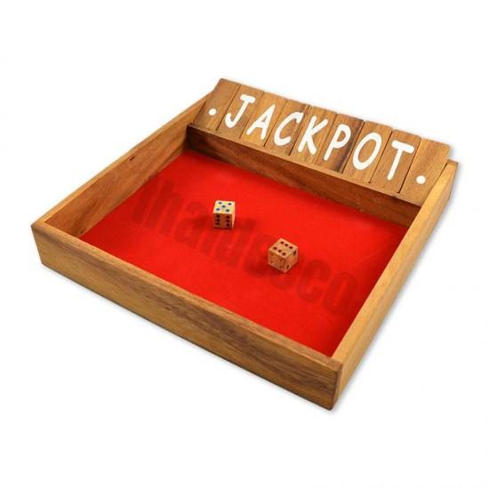 Träspel Shut The Box Large med tärningar och röd spelyta