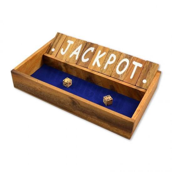 Träspel Shut The Box med blå spelyta