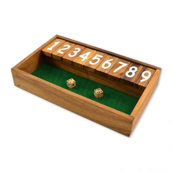 Träspel Shut The Box med grön spelyta