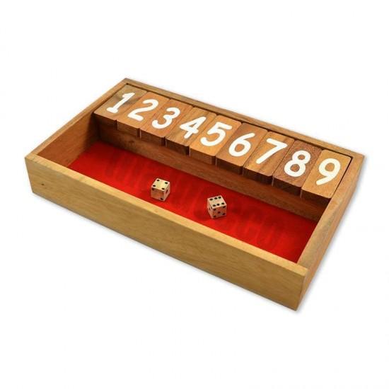 Träspel Shut The Box med röd spelyta